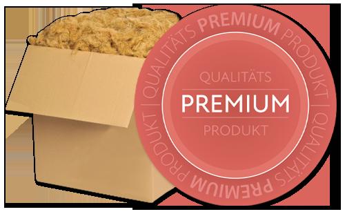 """Bild von Stopfwolle in einem Karton mit einem Icon: """"Qualität Premium Produkt"""""""